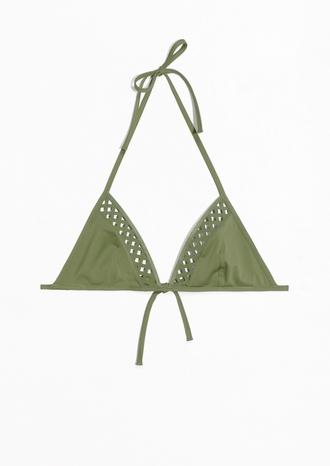 swimwear bikini bikini top green cut out bikini dark green olive green bikini triangle bikini