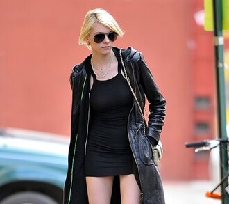 coat taylor momsen black coat