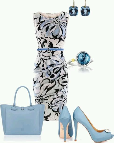 dress blue dress white dress heels