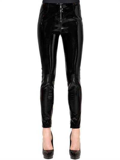 RTA, Skinny faux patent leather pants w/ zips, Black, Luisaviaroma