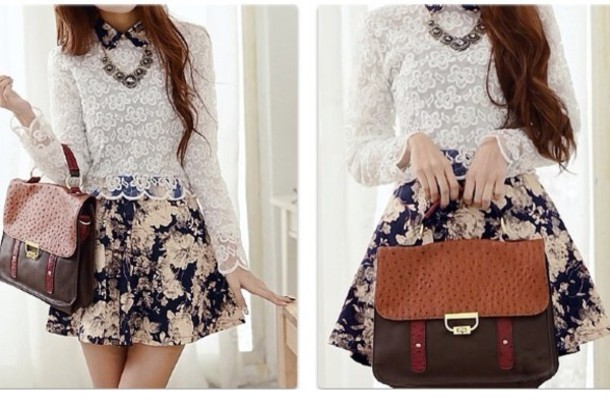 Skirt outfit pretty skirt blouse red pattern lace kfashion ulzzang tumblr tumblr ...