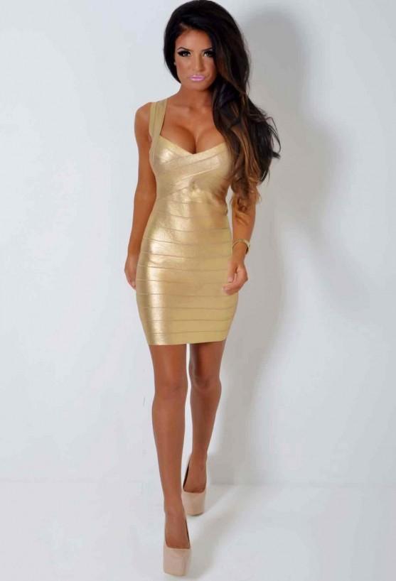 Auric Metallic Gold Lightweight Bandage Dress | Pink Boutique