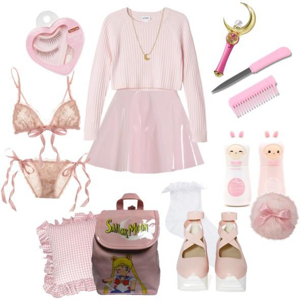 vinyl kawaii bag make-up pink outfit lolita japanese lingerie set lace kawaii bag underwear anime anime. shoes skirt
