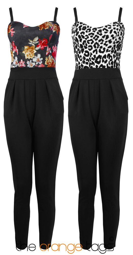 NEW WOMENS LADIES FLORAL JUMPSUIT PLAYSUIT ALL IN ONE JUMPSUITS | eBay