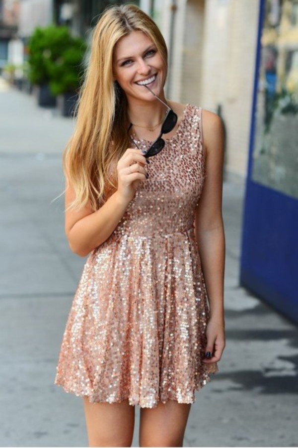 dress style ootd fashion instastyle igstyle igfashion sequins girly sequin dress gold rose gold
