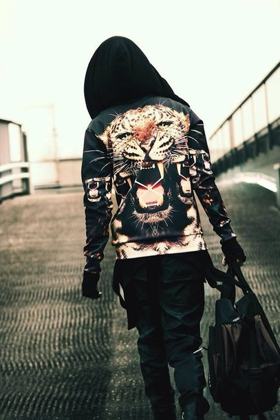 jacket tiger leopard print biker jacket black