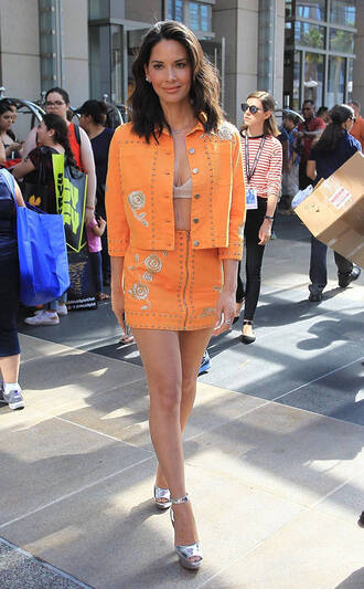 skirt jacket comic con orange two-piece sandals platform sandals olivia munn bra shoes