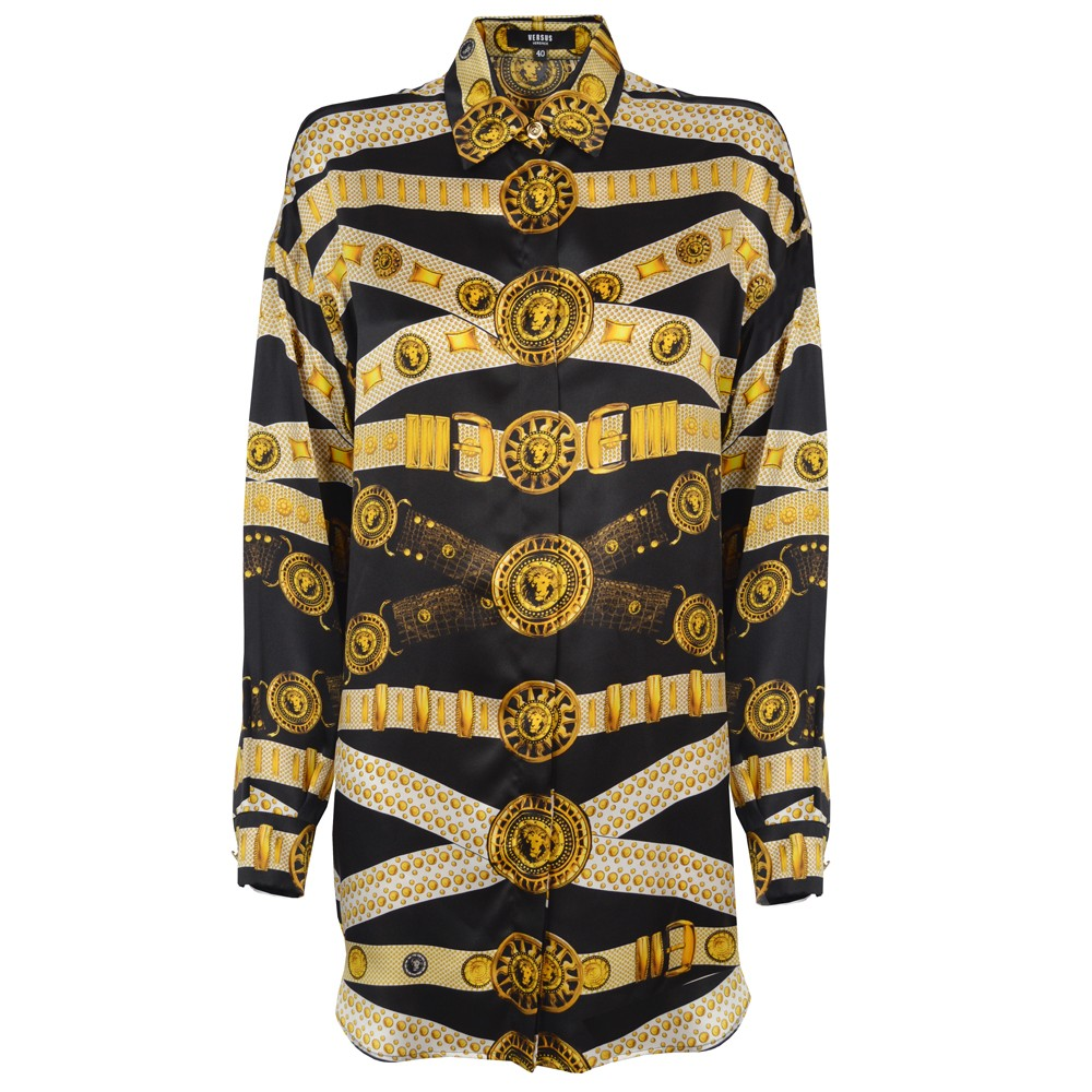 Versus Versace Belt Print Long Silk Shirt Black GarmentQuarter