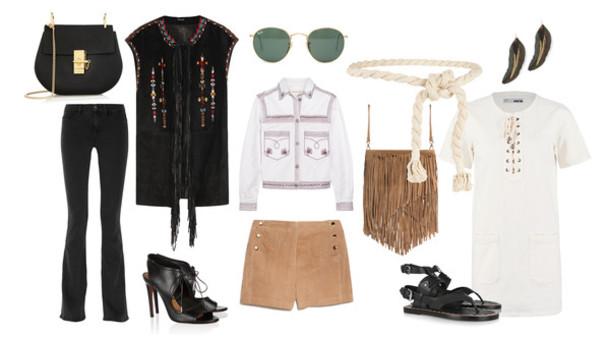 clochet blogger hippie 70s style bag jeans jacket shoes sunglasses shorts belt jewels