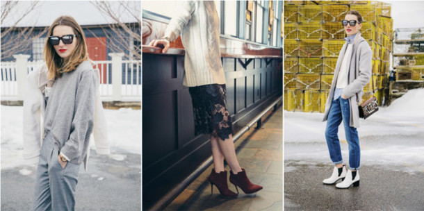 prosecco and plaid blogger lace skirt ankle boots grey sweater winter outfits sweater pants coat sunglasses skirt shoes shirt bag jeans