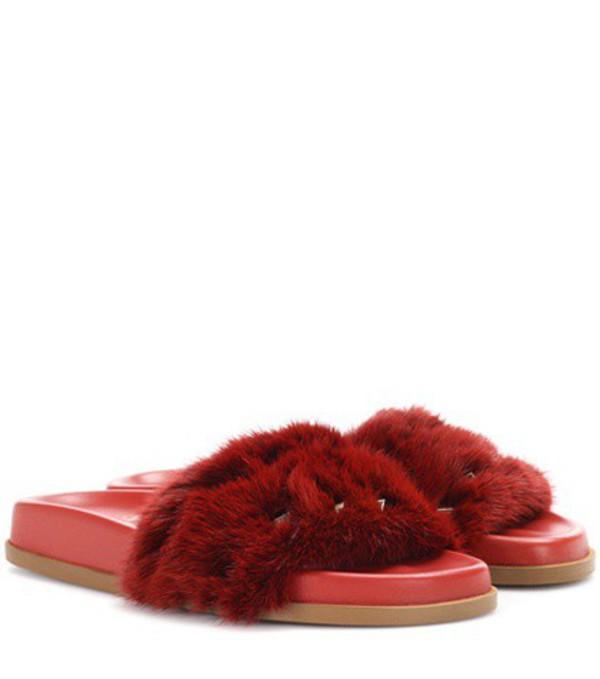 Valentino Garavani mink fur slides in red