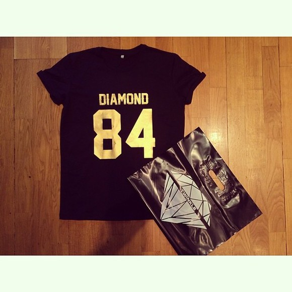 gold diamond shirt black t-shirt twinkle diamond\ 84 number