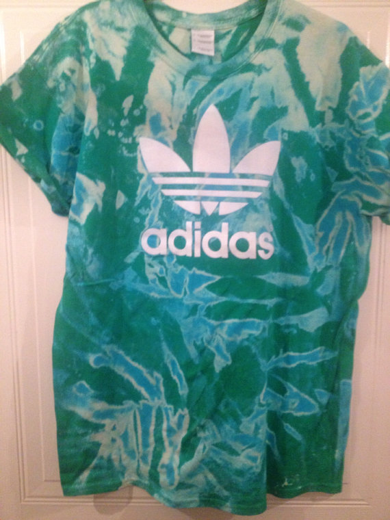 Unisex customised adidas acid wash tie dye t shirt sz large