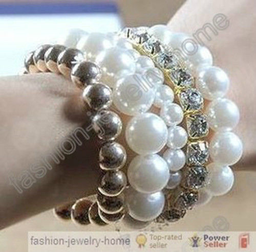 1 Set Beautiful Multilayer Glass Pearl Cube Crystal Beaded Bracelet | eBay