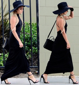 dress shoes black dress maxi dress black heels black hat floppyhat floppy black satchel bag hat black shoulder bag shoulder bag black bag celine bag celine open back dresses backless dress high heel sandals sandal heels sandals black sandals black hat all black everything vanessa hudgens celebrity style celebrity