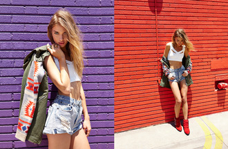 model shorts red jacket t-shirt mathilda bernmark suede booties nastygal nastygal.com high waisted denim shorts distressed shorts anorak crop tops white crop tops model off-duty boots cowboy boots red boots suede booties