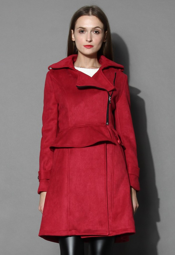 chicwish burgundy coat panel and peplum faux suede coat