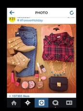 blouse,chambray,f21,forever 21,sweater,pink sweater,polka dot pants,tan high heels,necklace,black bag,shoes