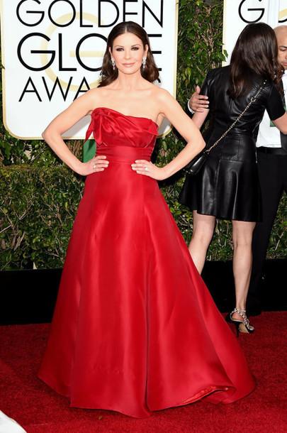 dress catherine zeta jones red dress red carpet dress Golden Globes 2015
