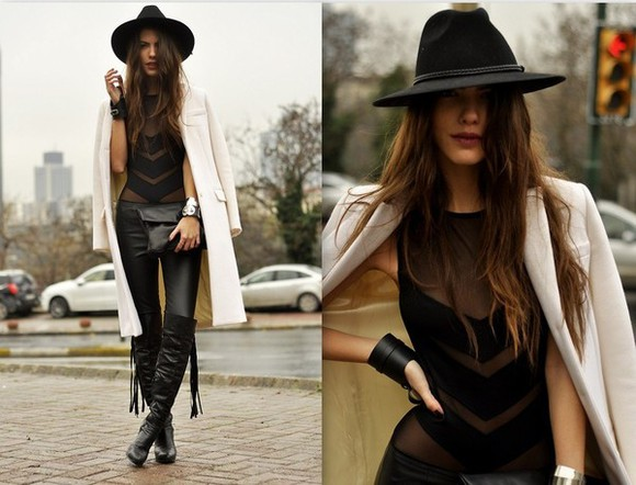 Black Milk shoes tank top body strapless translucent hat black hat high heels black shoes country style country