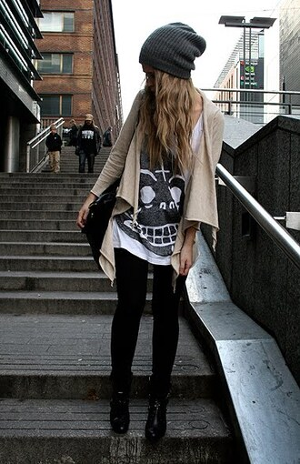 cardigan shoes leggings clothes tumblr beanie skull t-shirt boots disco pants bag hair accessory streetstyle