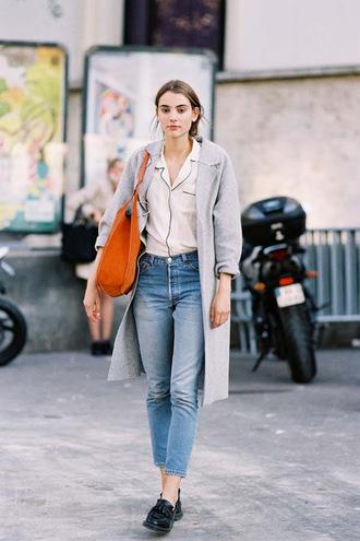 blogger shirt jeans coat bag blouse pajamas shoes streetstyle