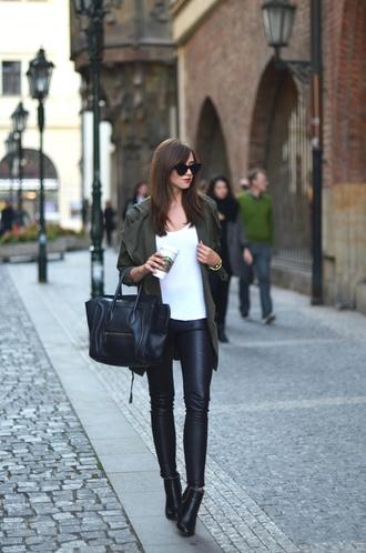 vogue haus blogger celine bag parka leather leggings
