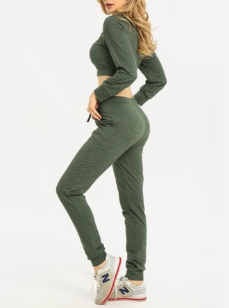 jumpsuit girly green two-piece joggers crop tops crop cropped cropped sweater
