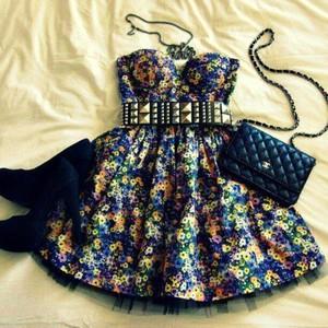 dress black short black dress studded belt cute bag yellow purple coral orange flower printed