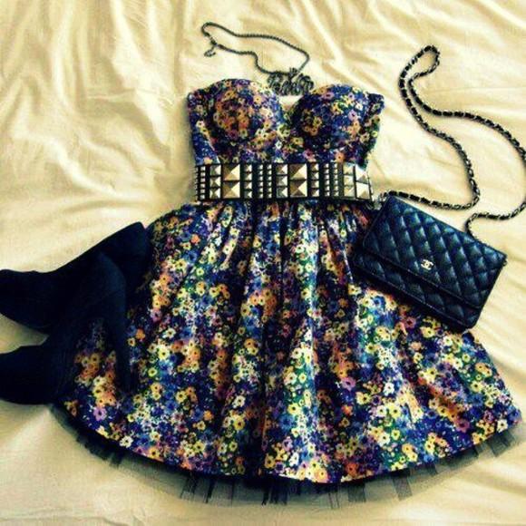 dress black short black dress studded belt cute bag yellow purple coral orange floral Belt