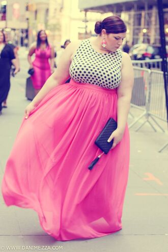 shirt clothes plus size skirt pink polka dots dress high-low dresses pink dress