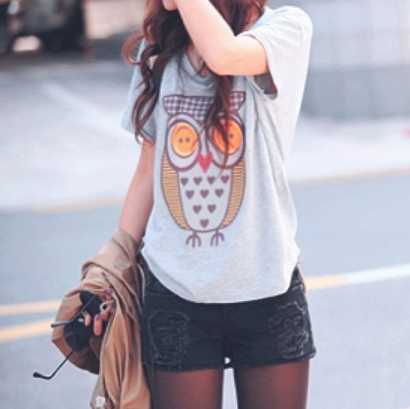 t-shirt owl orange buttons hearts grey shirt owl cute shorts