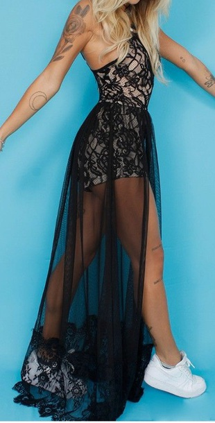 dress black dress lace dress mesh creme halter neck dress