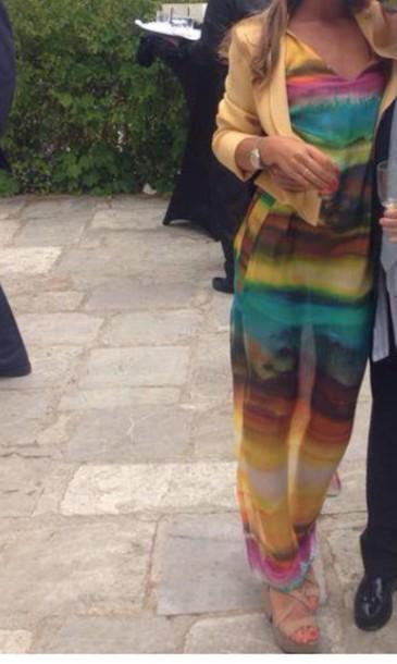 dress colorful long jacket yellow sandals platform shoes maxi dress summer dress