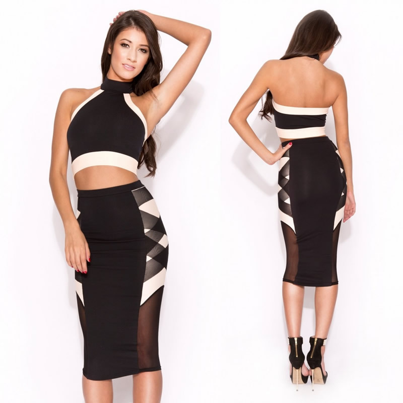 2014 New Style Two Pieces Bodycon Bandage Dress Crop Top and Pencil Dress Twin Set Summer Casual Dress 9104 | Amazing Shoes UK