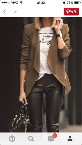 jacket pants leather black black leather pan black leather pants camel camel jacket white t-shirt black bag boots blonde hair brown jacket leather pants