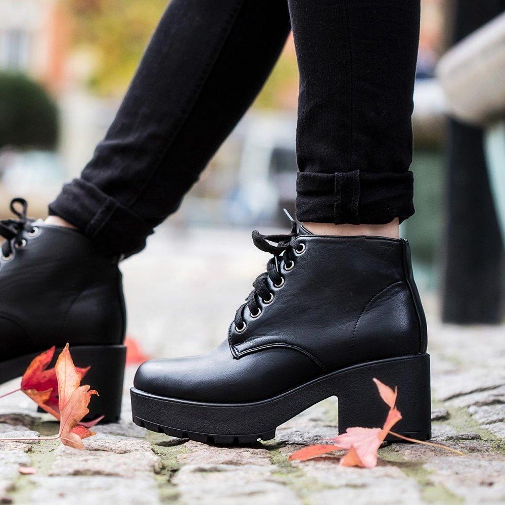 a294d7de46dd Buy MARVEL Chunky Heel Platform Ankle Boots Black Leather Style Online
