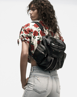 bag alexander wang backpack mini backpack minimalist bag roses black bag black backpack brand