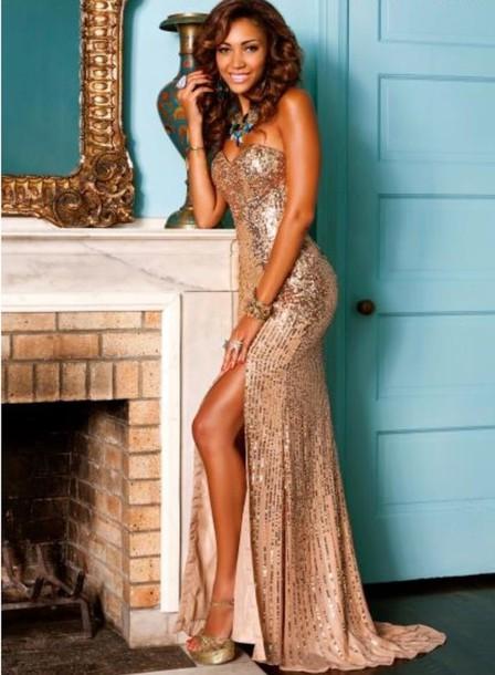 Dress Prom Prom Dress Long Dress Gold Long Prom Dress