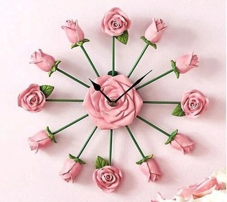 home accessory clock girly roses kitsch