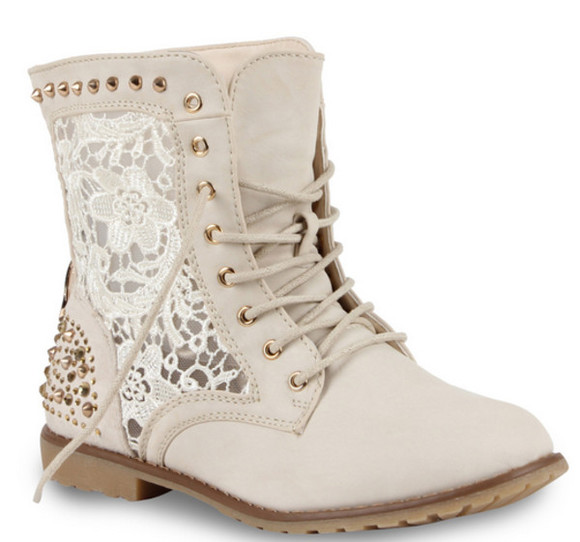 boots studded boots studded shoes beige muster spitze creme ankle boots winter boots booties studds