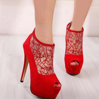 shoes cute red redheels red high heels high heels pumps peep toe heels mesh fashion clothes