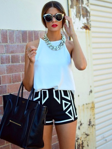 shorts chic bag statement necklace black shorts celine celine bag round sunglasses black white monochrome geometric black and white aztec spring break black and white dress t-shirt tank top fashion shorts white-stitching notjeanshorts shapes blue shorts black shorts white shorts fashion patternedshorts shirt stylish triangle shape chain bag