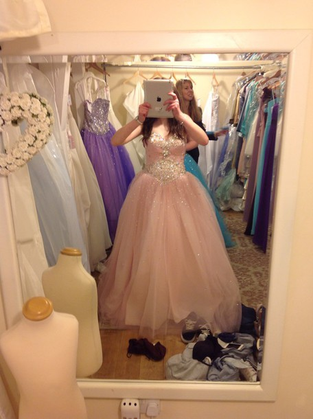 dress pink dress ball gown dress prom dress sparkle