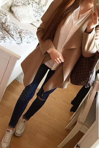 coat chic classy beige accessories streetstyle zaful converse ripped jeans fall outfits fashion casual sneakers