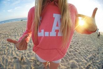 sweater pink white hoodie los angeles hoodie la california tumblr los angeles