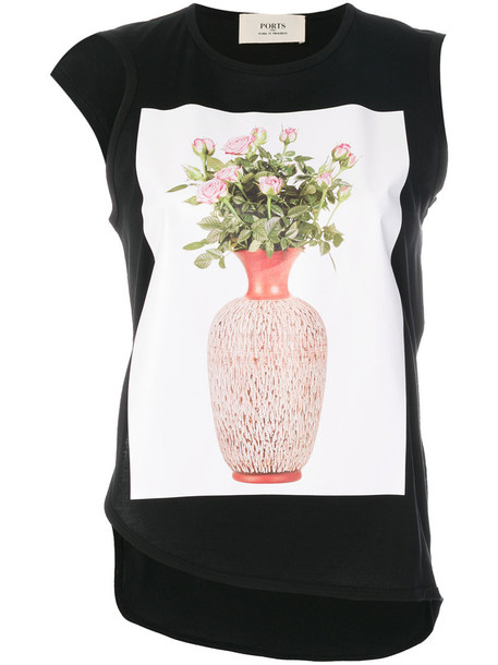 Ports 1961 - flower and vase print top - women - Cotton - L, Black, Cotton