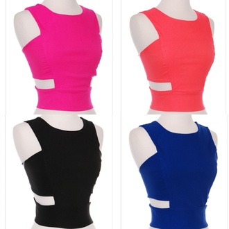 shirt top pink blue black coral crop tops