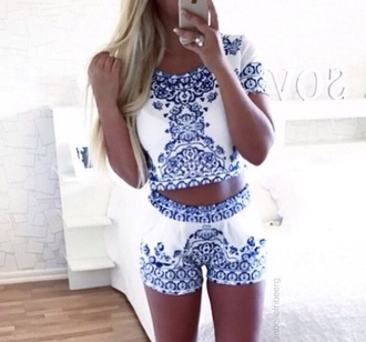 jumpsuit blue and white crop top and shorts