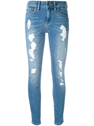 jeans skinny jeans cropped women spandex ripped cotton blue